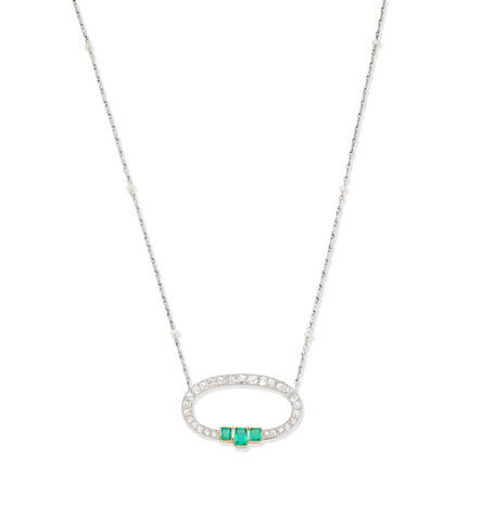 Emerald, diamond and seed pearl necklace