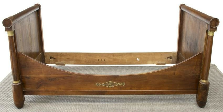 FRENCH EMPIRE STYLE WALNUT ALCOVE BED, MID 19TH C.