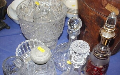 """Five glass decanters, a cut glass bowl, 9"""" high, vases and t..."""