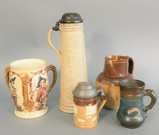 Five piece group to include Mettlach Loving cup, salt