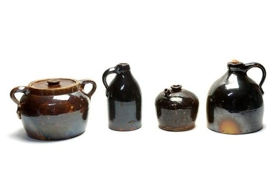 Four American Brown Glazed Stoneware Pottery Articles.