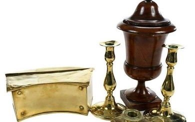 Four Brass Items with Carved Treen Lidded Urn