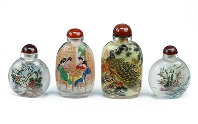 Four Chinese Reverse Painted Snuff Bottles.