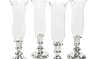 Four Christofle Silverplate Hurricane Lamps