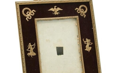 French 2nd Empire Gilt Bronze Velvet Photo Frame
