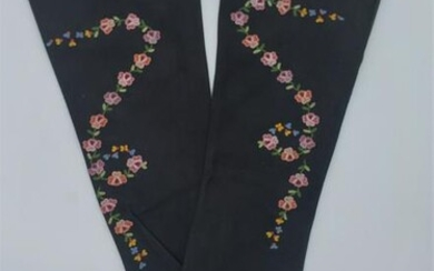 French Antique Embroidered Long Suede Gloves