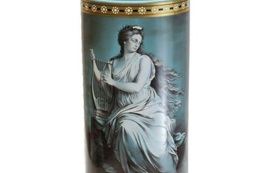 French Blue Opaline Art Glass Painted Enamel Vase