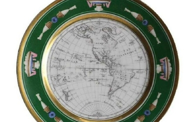 French Cartographic Cabinet Plate Map of Americas