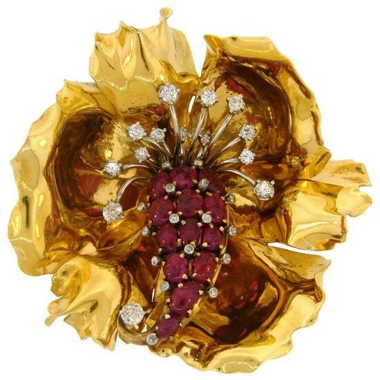 French Ruby Diamond Yellow Gold Flower Brooch Pin Clip
