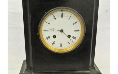 French mantle clock with circular brass framed enamel dial, ...