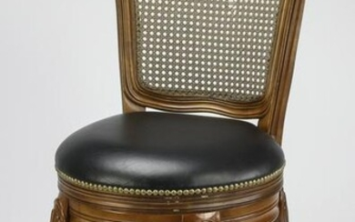French side chair w/ woven cane back & leather seat