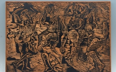 TWO PIECE LOT GRIPPI WOODBLOCK AND WOODCUT