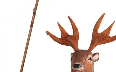 Hand Carved Wood Adirondacks Deer Head Walking Stick
