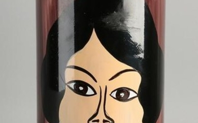 Hand painted glass vase with face.&#160 20th