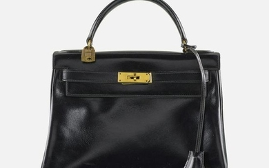 Hermes, Black Calf Leather Kelly Bag