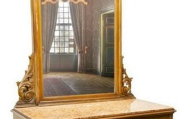 ITALIAN LOUIS XV STYLE MIRRORED MARBLE-TOP COMMODE