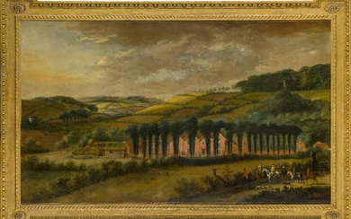 Jan Griffier the Younger, Dutch 1698-1773- View of a manor...
