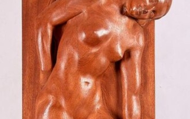 "Jean FRÉOUR (1919-2010) : "" Young woman lengthened the loose hair "", important sculpture in mahogany wood, signed at the bottom -98 x 45 cm."