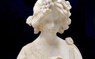 FINE ITALIAN MARBLE BUST OF A MAIDEN SIGNED CAMPI