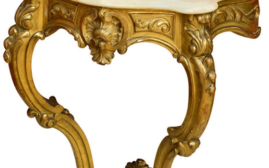 Maker unknown, A Louis XV Style Carved and Giltwood Console
