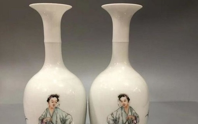Matched Pair Famille Rose Figure Vases