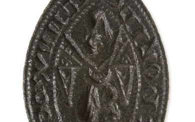 "Medieval Seal Matrix.- Seal matrix inscribed ""S' Nicoli Tannvr de Wali"", for Nicholas the Tanner of Wallingford, legend surrounding an image of the Virgin and Child between pylons and praying monk below, [14th century]."