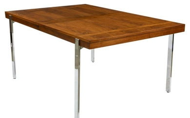 Mid Century Walnut and Chrome Dining Table