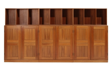 Mogens Koch: Three solid mahogany cabinets, three half bookcases and tree bases with visible joints. Made by Rud. Rasmussen cabinetmakers. (9)