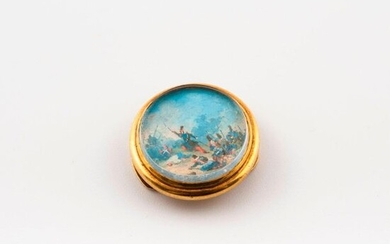 Neck knob in yellow gold (750) adorned with a miniature representing the charge of the foot grenadiers.