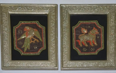 Nice Pair Of Framed, Embroidered Thai Emblems