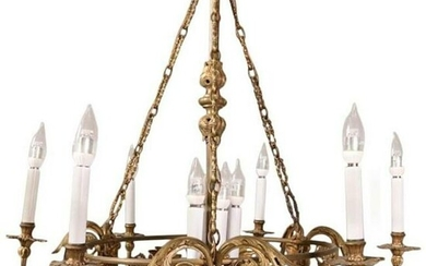 Oversized French Empire Style Bronze Figural Chandelier