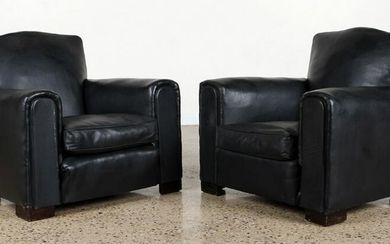 PAIR ART DECO LEATHER CLUB CHAIRS MUSTACHE BACKS