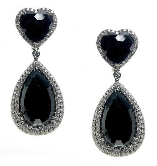 PAIR OF 18CT WHITE GOLD, COLOURED DIAMOND AND DIAMOND PENDANT EARRINGS Please note that the diamonds of black tint have not been tes...