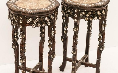 Pair Chinese Qing Rosewood Round Plant Stands