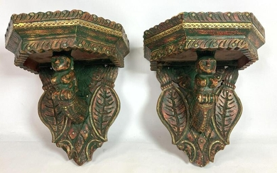 Pair Paint Decorated Carved Wood Shelf Brackets.