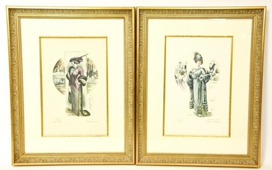 Pair Professionally Framed 19th C Fashion Prints
