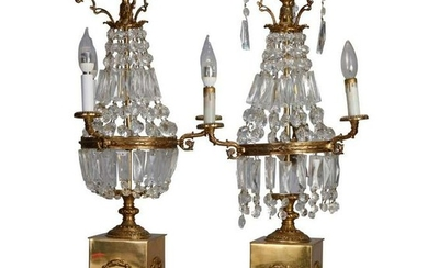 Pair Vintage French Empire Brass & Crystal Candelabra