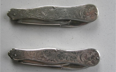Pair of American all solid sterling silver custom pocket knives circa late 18thc FR3SH