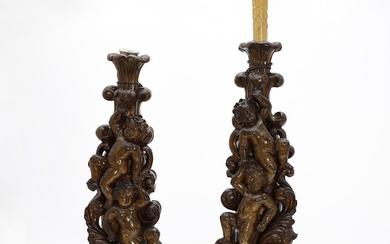 Pair of Baroque-style table lamps, probably by Pierre Lottier, mid 20th Century.