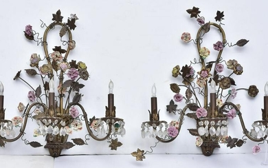 Pair of French Toleware Sconces