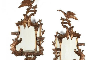 Pair of Italian Rococo Revival Mirrored Wall Brackets