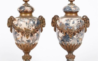 Pair of Louis XVI style bronze and marble...