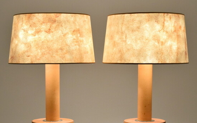 Pair of Peter Marino Leather Lamps, Manner of Paul Dupre-Lafon