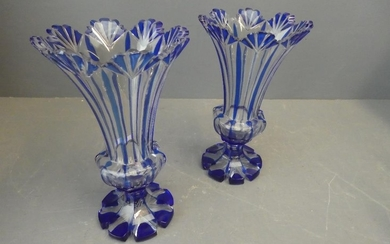 Pair of Victorian cut glass vases with blue overlay decorati...