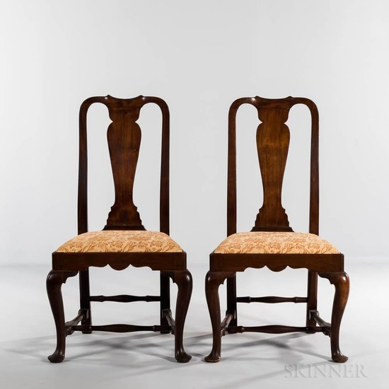 Pair of Walnut Side Chairs, Massachusetts, c. 1740-60, with vasiform splats, slip seats, and cabriole legs ending in pad feet, (refinis