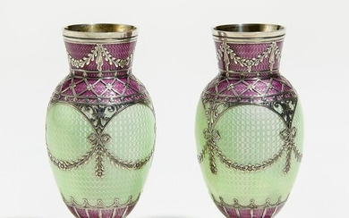 Pair of small decorative vases made of silver