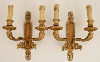 Pr of French gilt bronze 2 light sconces