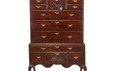 Queen Anne maple high chest Connecticut, 18th century H:...