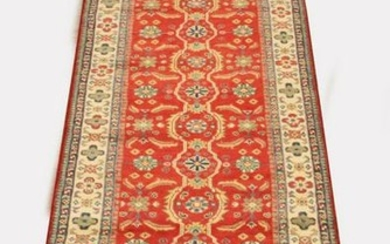 "RED AFGHAN KAZAK RUNNER, W 2' 9"", L 10'"