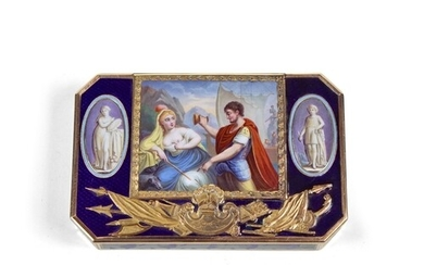 Swiss Gold and Enamel Snuff Box - Rectangular case with cham...